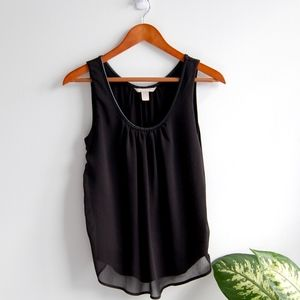 Banana Republic Leather Trim Sheer Tank Blouse